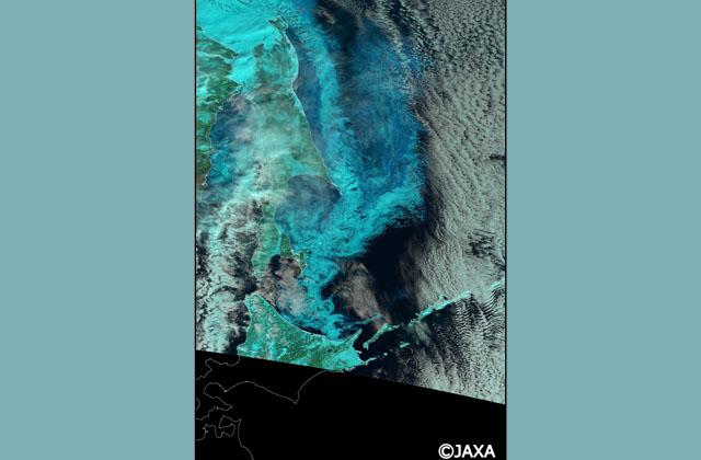 宇宙から見たオホーツク海の流氷接近