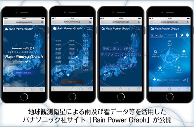 地球観測衛星による雨及び雹データ等を活用したパナソニック社サイト「Rain Power Graph」が公開