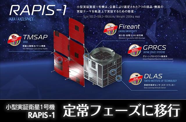 小型実証衛星1号機 RAPIS-1 定常フェーズ移行